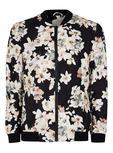 Mens Black Watercolour Floral Print Formal Bomber Jacket