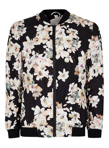 Mens Black Watercolour Floral Print Formal Bomber Jacket