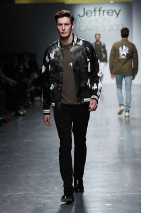 Mandatory Credit: Photo by Amy Sussman/WWD/REX/Shutterstock (8562575ae) Model on the catwalk Jeffrey Fashion Cares show, Runway, New York, USA - 03 Apr 2017