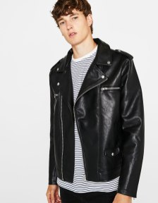 Faux leather biker jacket by Bershka $56.19USD