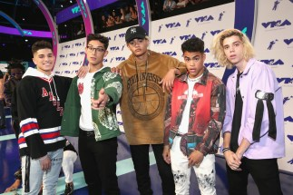 (L-R) Brandon Arreaga, Nick Mara, Zion Kuwonu, Edwin Honoret and Austin Porter of PrettyMuch attends the 2017 MTV Video Music Awards at The Forum on August 27, 2017 in Inglewood, California.
