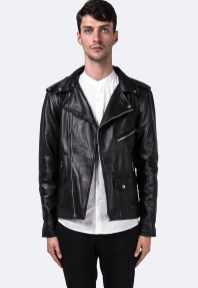 Black Lambskin Leather Moto-Biker Jacket $251.00USD