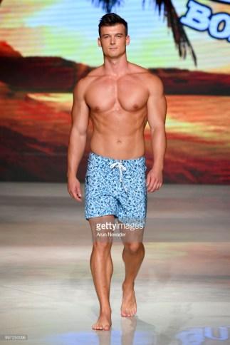 A model walks the runway for Just Bones Boardwear at Miami Swim Week powered by Art Hearts Fashion Swim/Resort 2018/19 at Faena Forum on July 12, 2018 in Miami Beach, Florida.