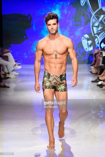 A model walks the runway for Mister Triple X at Miami Swim Week powered by Art Hearts Fashion Swim/Resort 2018/19 at Faena Forum on July 15, 2018 in Miami Beach, Florida.