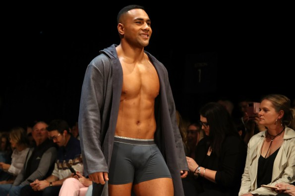 Ngani Laumape of the New Zealand All Blacks walks the runway during the Jockey show during New Zealand Fashion Week 2018 at Viaduct Events Centre on August 30, 2018 in Auckland, New Zealand.
