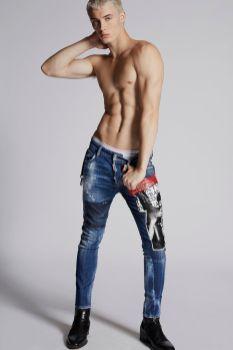 Dark Pink Spray Slim Jeans