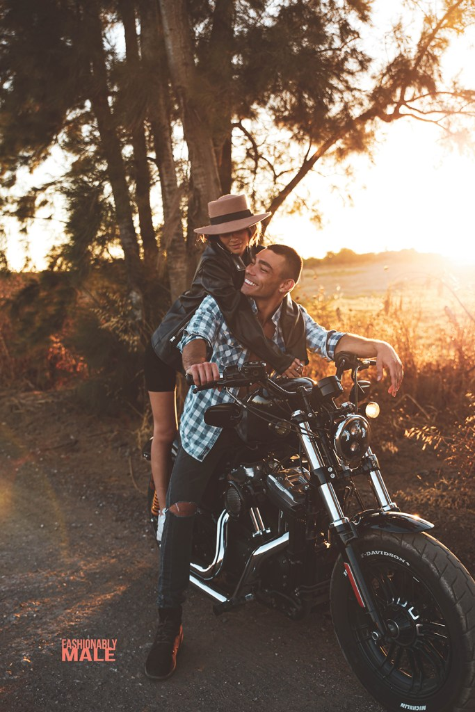 Couple in a motorcycle