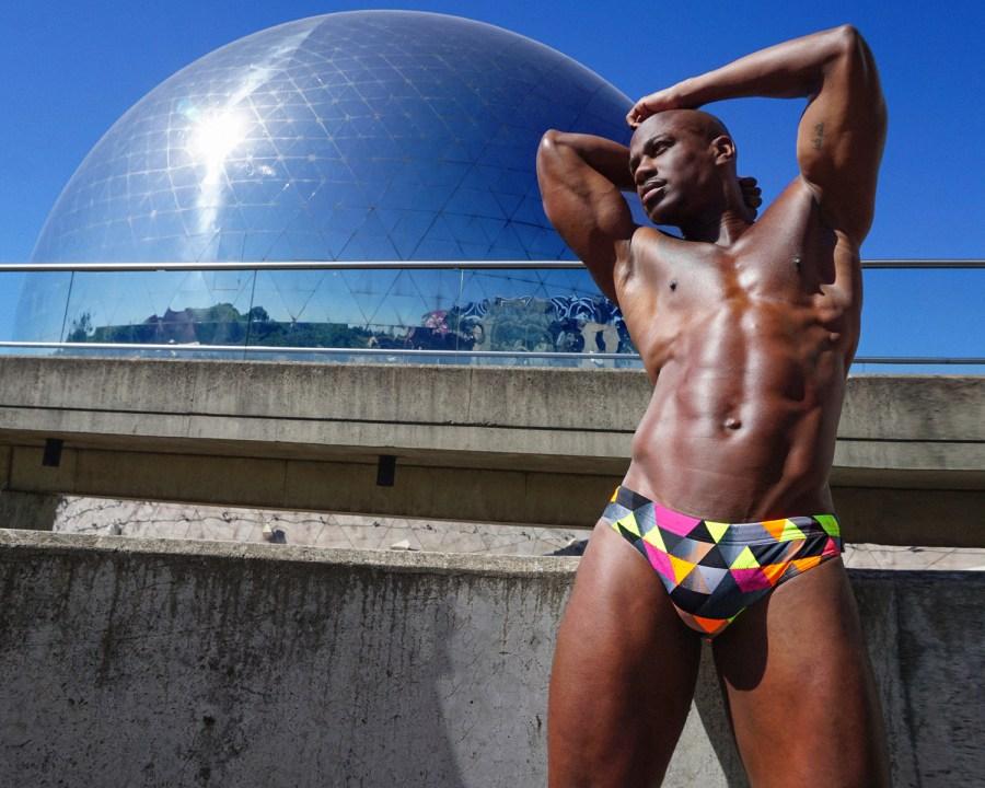 Men posing in Wapo Wear swimsuit