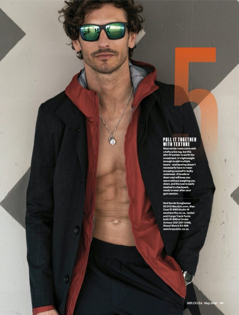 Model Parker Gregory for Men's Health South Africa May 2020