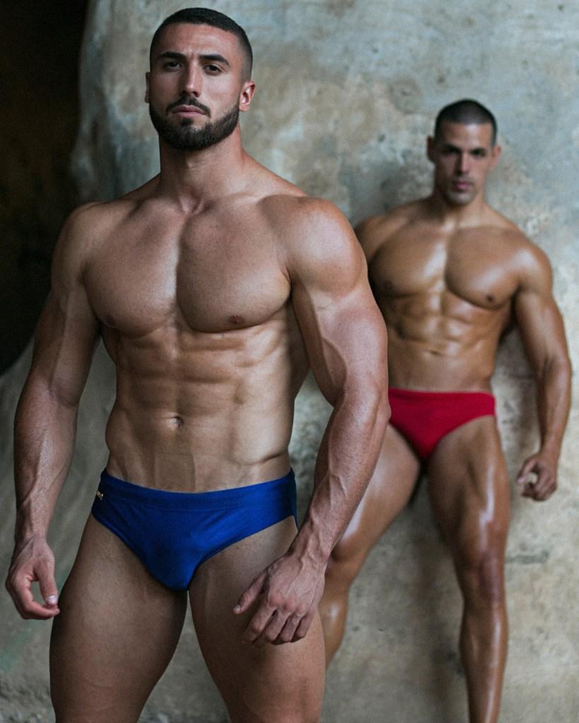 Models Drazen and Fabian are wearing swimwear by WAPO Wear