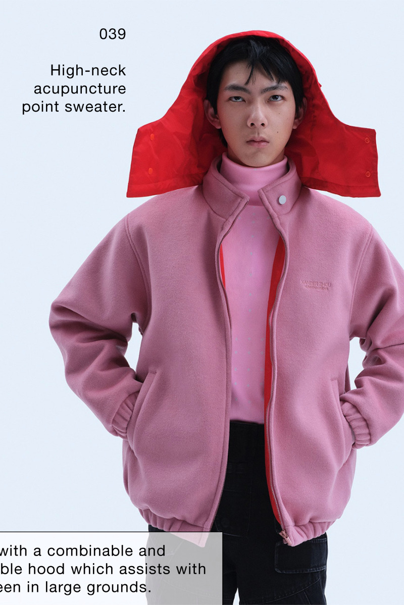 High-neck acupuncture point sweater.Double-sided down vest without zipper, embroidered on the front and back with the Supernatural, Extraterrestrial & Co. logo in the same color.Woolen jacket with combinable and detachable hood.Supernatural, Extraterrestrial & Co. multi-pocket slim trousers for which the SS18 version of Model 1 served as the prototype. Details have been modified and improved.Version 3 of the mechanics platform shoes first appeared as its AW20 version. This is an update to its AW21 version, adding more three-dimensional details in the shape of mechanical parts.