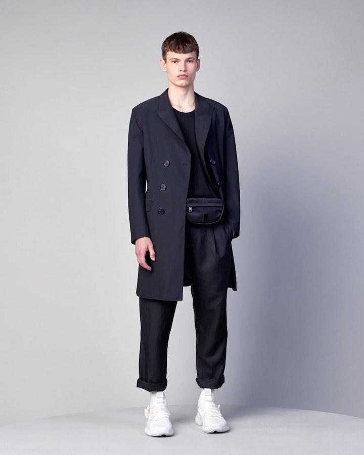 Neil Barrett Minimalist Lightweight Tecno Stretch Double Breasted Coat