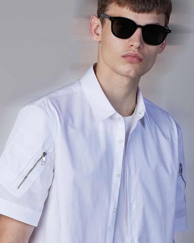 Neil Barrett Hybrid Vintage Cotton Shirt with Military Pockets on sleeves