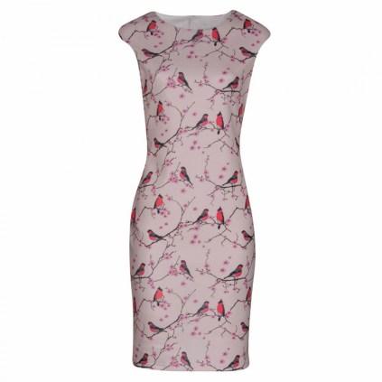 bodycon dress with birdprint