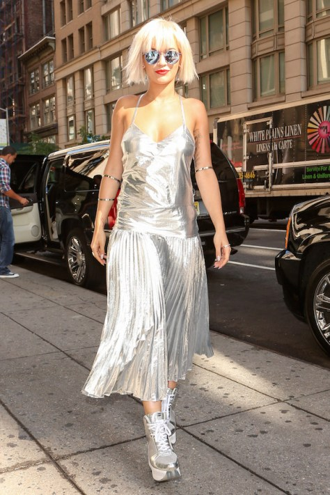 Rita Ora is sexy in silver in New York