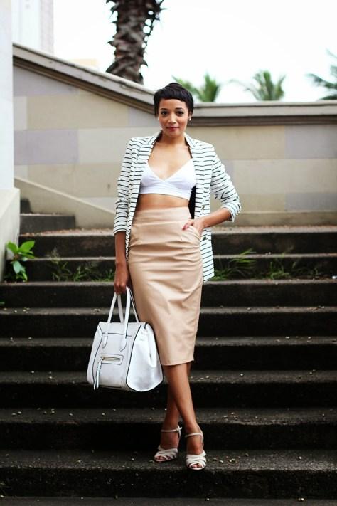 Camel leather skirt stripe jacket Brett Robson fashion blogger 3