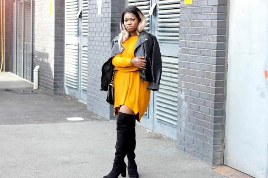 mustard dress biker look