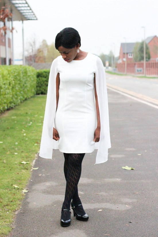 White Cape Dress Luxemme