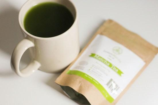 Drinking green tea image