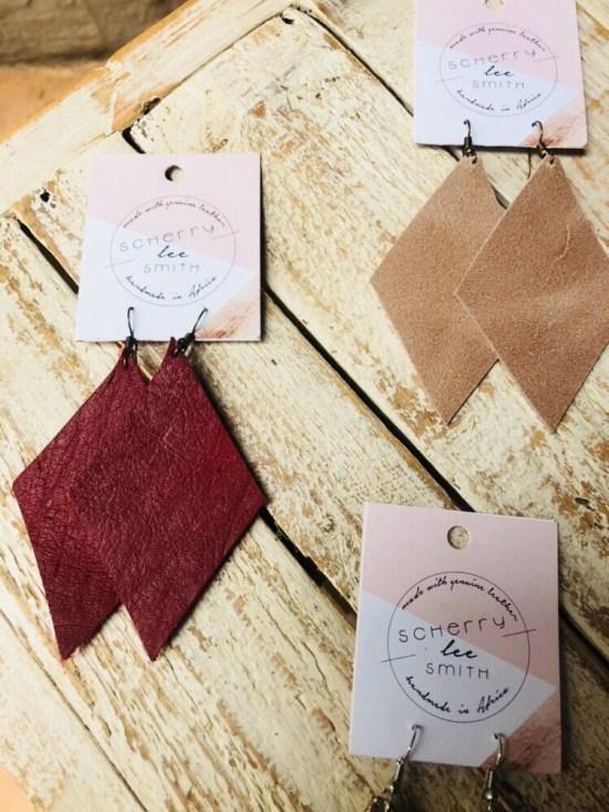 Leather handmade earrings image
