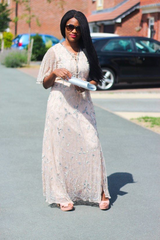 Beige flute sleeve sequin maxi dress image