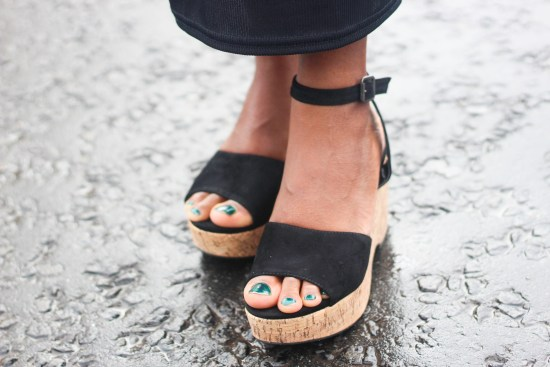 XY London Black Wedge Sandals Image