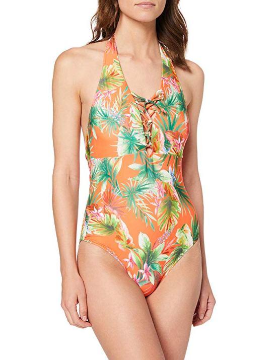 Dorothy Perkins Women's Orange Tropic Lace Up Swimsuit image