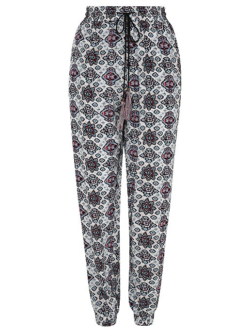 Red Floral Harem Trousers Image
