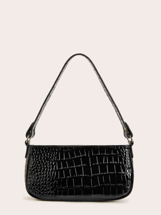 Croc Embossed Baguette Bag image