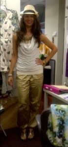 This is my J-Lo look, complete with a Fedora and shiny metallic Harem pants (not quite as full as M.C. Hammer) LOL.