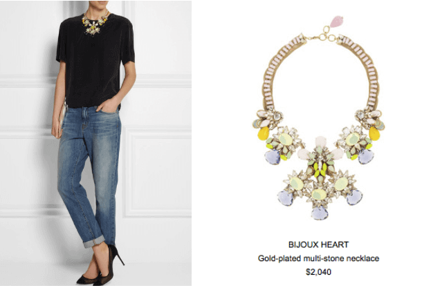 Pastel Statement Necklace with Jeans & Tee Look