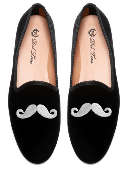 del-toro-fall-2013-prince-albert-black-velvet-slipper-loafers-mustache-embroidery