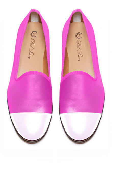 del-toro-fall-2013-prince-albert-fuchsia-nappa-loafer-slippers-with-white-nappa-leather-captoe