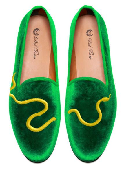 del-toro-fall-2013-prince-albert-green-velvet-slipper-loafers-green-snake-embroidery