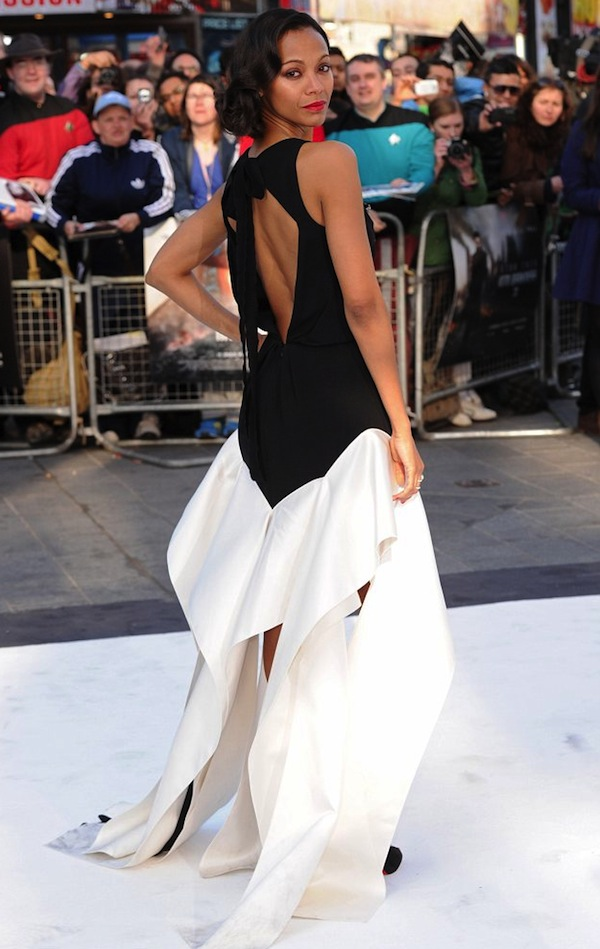 00 Zoe Saldana Star Trek Into Darkness UK premiere Vionnet Pre-Fall 2013 Black Silk Cady Geometric Long Dress