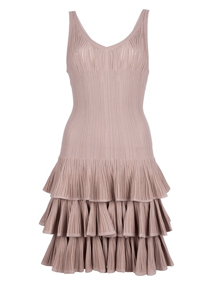 Azzedine-Alaia-Nude-Tiered-Dress