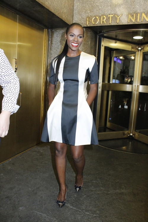 tika-sumpter-new-york-live-stella-mccartney-striped-dress-christian-louboutin-love-me-pumps