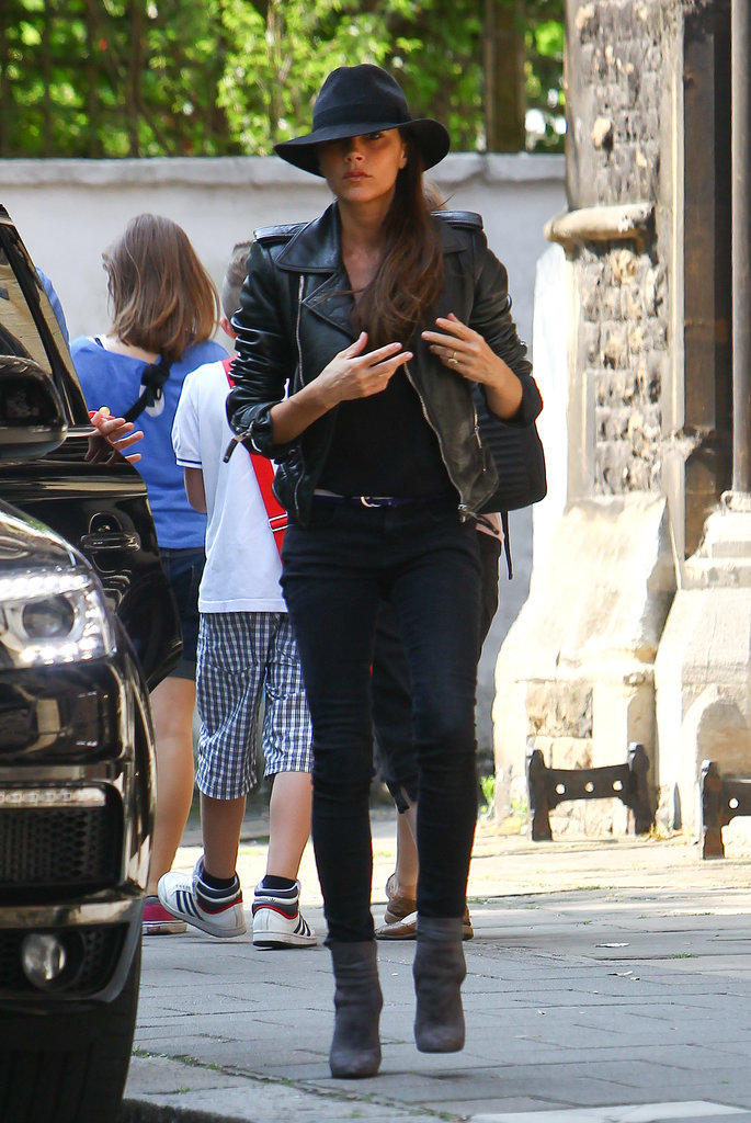 victoria-beckham-london-balenciaga-leather-jacket-maison-michel-trilby-velvet-hat-saint-laurent-paris-booties