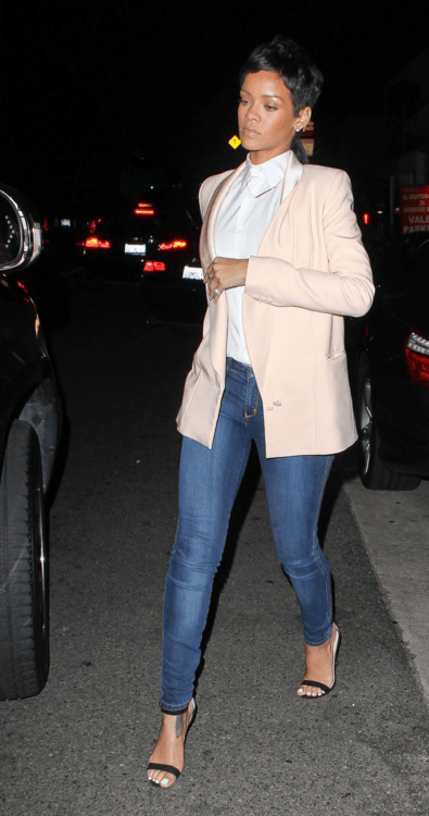 Rihanna's Giorgio Baldi Stella McCartney Pink Blazer And Manolo Blahnik Chaos Sandals