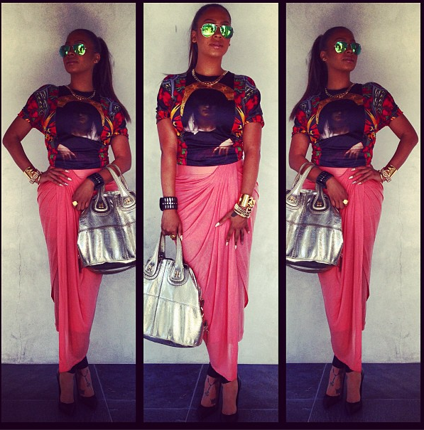 lala anthony baggage claim givenchy madonna and floral tee helmut lang skirt mirrored givenchy bag ray ban sunglasses