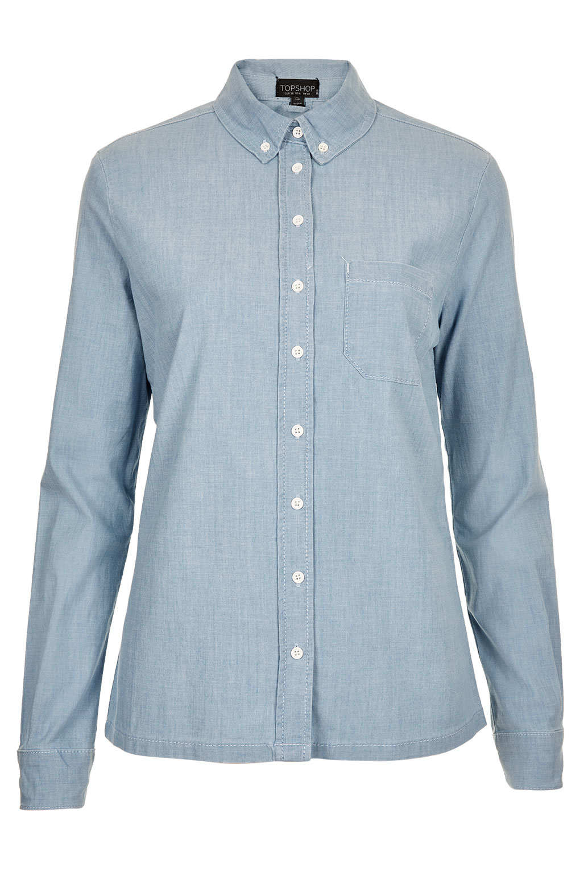 topshop-moto-blue-denim-oxford-shirt