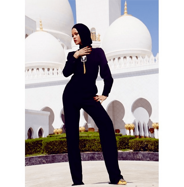 0090 Rihanna's Abu Dhabi Stella McCartney Black Ofella Jumpsuit,  Saint Laurent Onyx Tassel Necklace, and Manolo Blahnik Hangisi Jeweled Pumps
