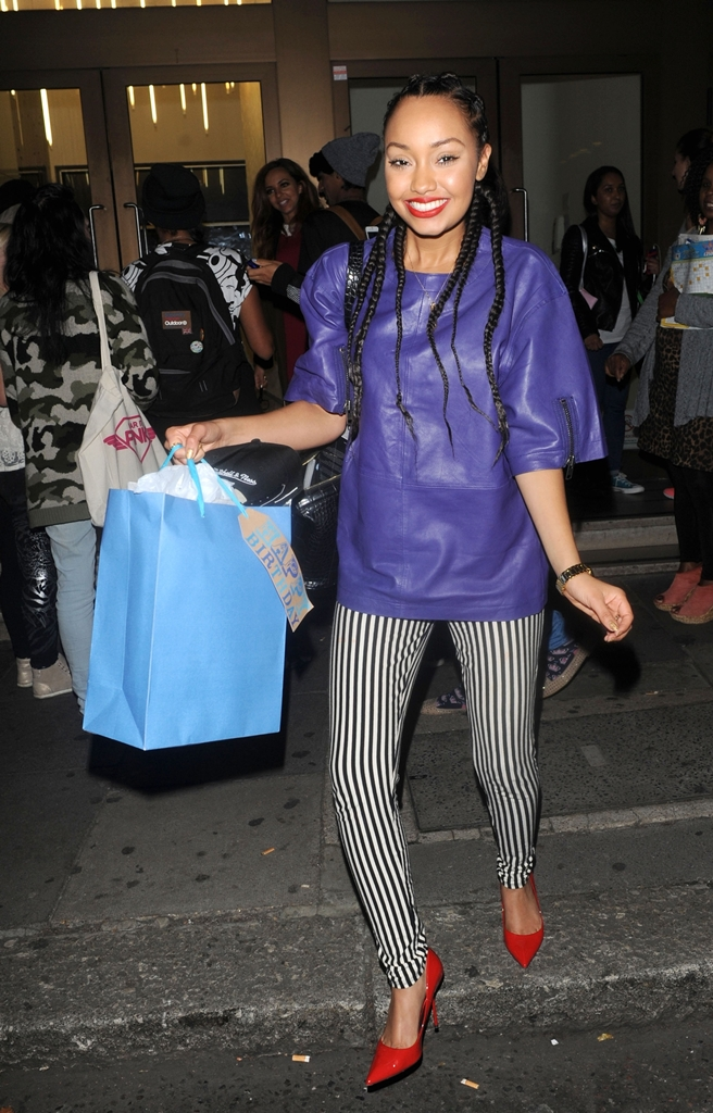 leigh-anne-pinnock-london-asos-leather-tunic-topshop-moto-leigh-stripe-jeans-sergio-rossi-flamenco-pumps