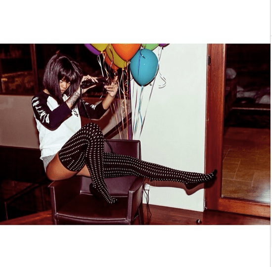 4 Rihanna's Aspen Instagram Polka Dotted Thigh High Socks