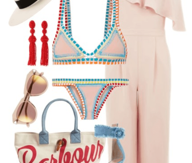 Accessorize The Look With Frayed Denim Sandals Beaded Tassel Earrings And A White Panama Hat