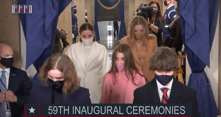 Joe Biden Granddaughter Finnegan Biden's Inauguration Brandon Maxwell Camel Brown Coat and Matching Dress