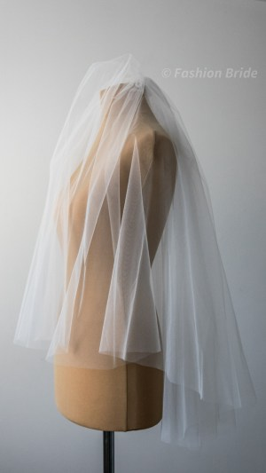Middle-length Bridal tulle two-layer Veil