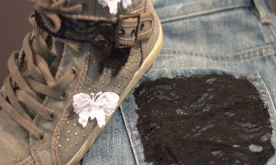 DIY lace sneakers and lace pockets on jeans