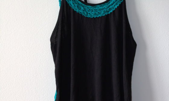 DIY Black Tank Top with Lace Ruffles