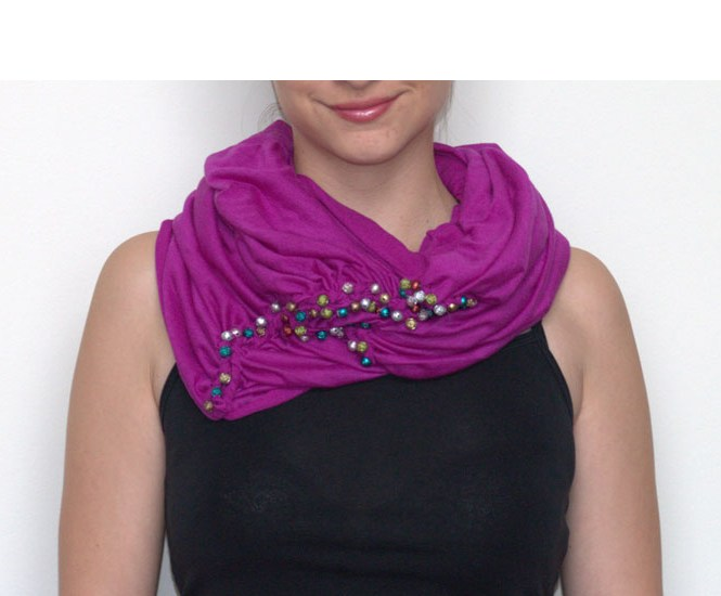 DIY Pink Infinity Scarf Kit: Do-it-yourself braid and beads decoration